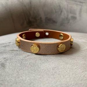 Tory Burch Rose Gold Single Wrap Logo Bracelet